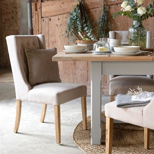 Winged Buttoned Upholstered Dining Chair - Stone