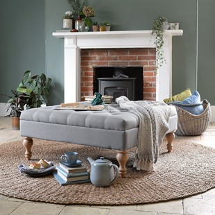 Clover Buttoned Coffee Table   Grey Linen