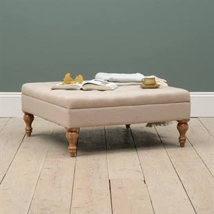 Clover Buttoned Coffee Table - Stone Linen