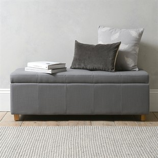 Willow Large Buttoned Blanket Box - Grey Linen