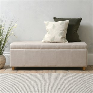 Willow Large Buttoned Blanket Box - Stone Linen