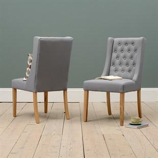 Foxglove Winged Buttoned Chair - Grey Linen