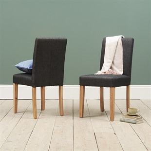 Aster Straight Back Linen Chair - Charcoal