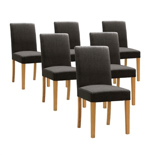 Set of 6 Aster Straight Back Chairs - Charcoal