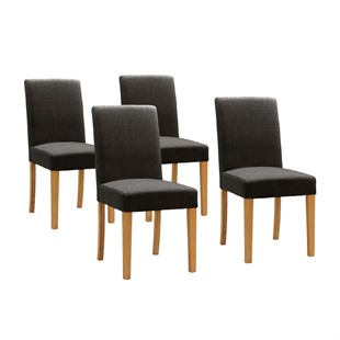 Set of 4 Aster Straight Back Chairs - Charcoal