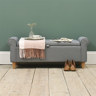 Winged Blanket Box - Grey Linen