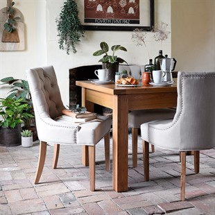Upholstered Button Back Chair - Stone