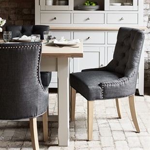Primrose Upholstered Button Back Chair - Charcoal