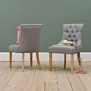 Primrose Upholstered Button Back Chair - Grey