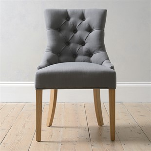 Upholstered Button Back Chair - Grey