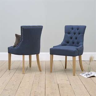 Primrose Upholstered Button Back Chair - Navy