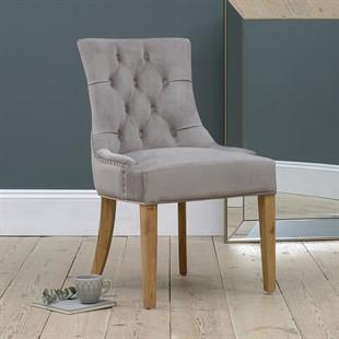 Primrose Upholstered Button Back Chair - Pewter Velvet