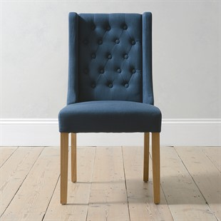 Winged Buttoned Upholstered Dining Chair - Navy