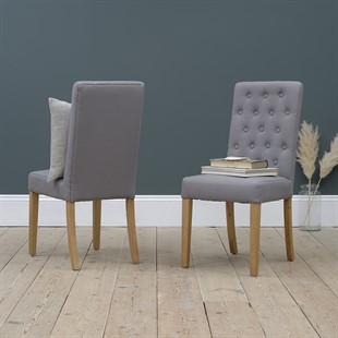 Foxglove Straight Back Chair - Grey Linen