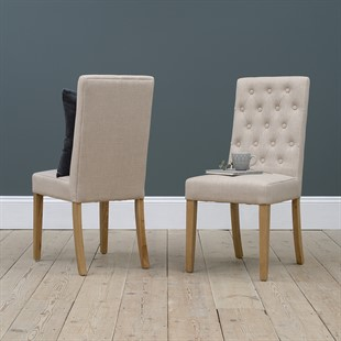 Straight Back Upholstered Dining Chair - Stone