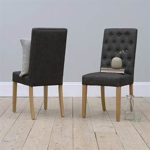 Foxglove Straight Back Chair - Charcoal Linen