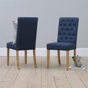 Foxglove Straight Back Chair - Navy Linen