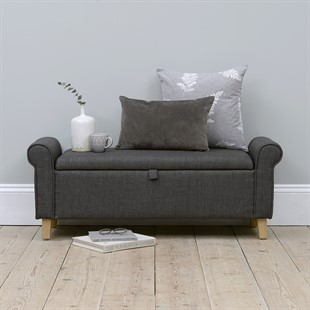 Winged Blanket Box - Charcoal Linen