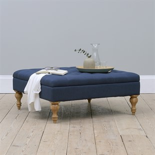 Clover Buttoned Coffee Table - Navy Linen