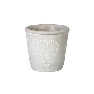 Grey Concrete Heart Planter 10x11.5cm