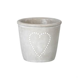 Concrete Grey Heart Planter 13x15cm