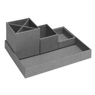 Canvas 4 Piece Desktop Organiser - Grey