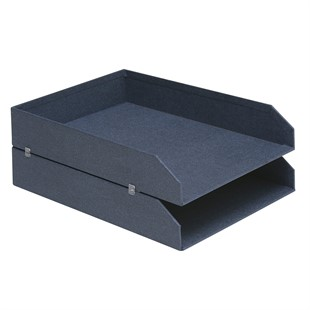 Canvas 2 Piece Stackable Letter Tray - Blue