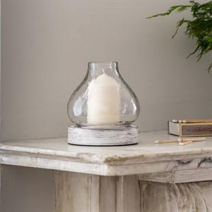 White Wood Small Hurricane Lantern
