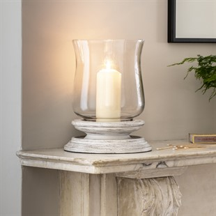 White Wood Large Hurricane Lantern