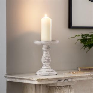 White Wood Large Pillar Candle Holder