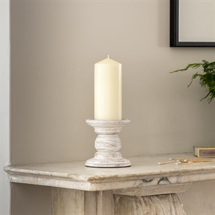 White Wood Small Pillar Candle Holder