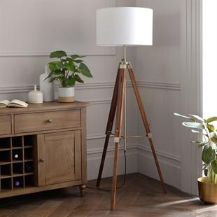 Easel Floor Lamp - Dark Wood