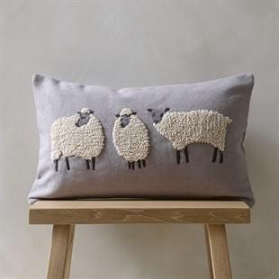 Three Sheep Cushion - Grey