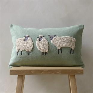 Three Sheep Cushion - Fir Green