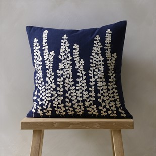 Fern Fronds Cushion - Deep Blue