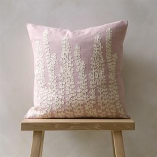 Fern Fronds Cushion - Blush Pink