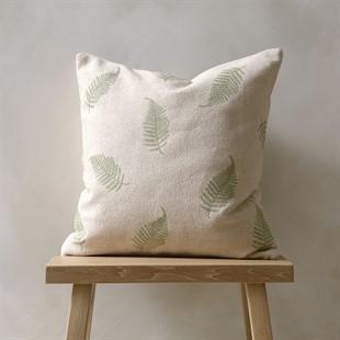 Fern Leaves Cushion - Natural/Fir Green