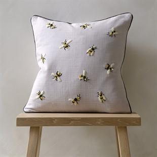 Multi Bumble Bees Cushion - Natural