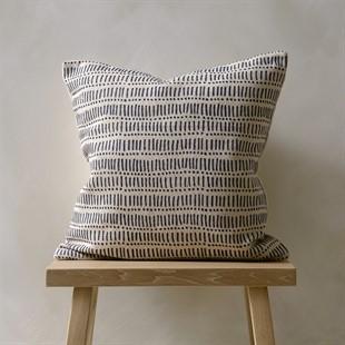 Lines and Dots Cushion - Natural/Blue
