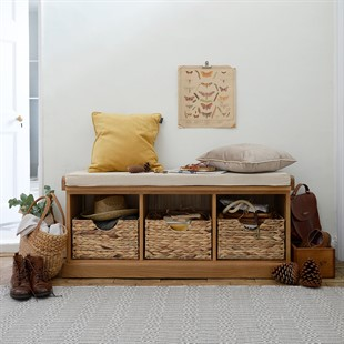 Appleby Oak Shoe Bench with Baskets