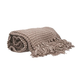 Taupe Woven Stab Stitch Cotton Throw