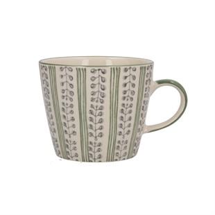 Green Stripe Berry Ceramic Mug