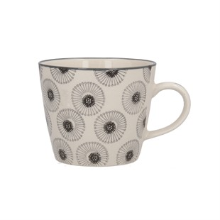 Monochrome Daisy Ceramic Mug