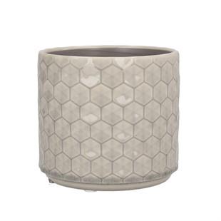 Grey Honeycomb Ceramic Plant Pot 14cm