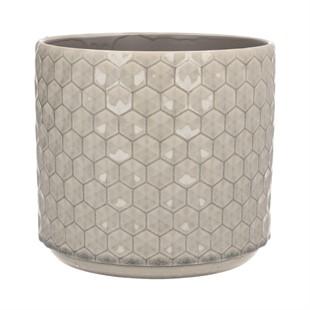 Grey Honeycomb Ceramic Plant Pot 20cm