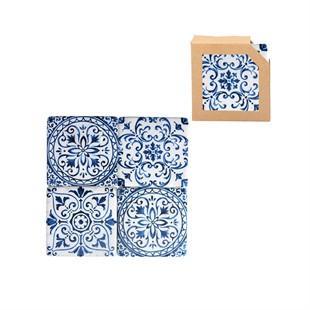 Indigo Tile Design Resin Coaster 4 Pack