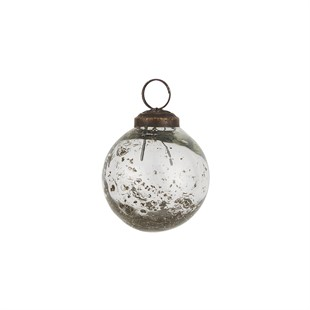Pebbled Glass Bauble Decoration Clear
