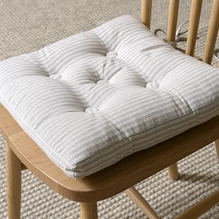 Harvey Stripe Seat Pad with ties - Dove Grey