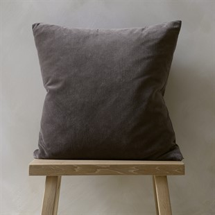 Cotton Velvet Cushion - Charcoal