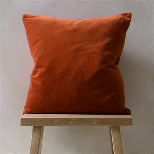 Cotton Velvet Cushion - Rust